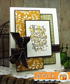 Painted Autumn StampTV kit from Gina K. Designs.  Card by Sheri Gilson.  Features Painted Autumn stamp set & Give Thanks stamp set.  www.shop.ginakdesigns.com