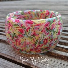 Pastel Cake Sprinkle Bangle - Resin bracelet filled with real sprinkles. Made By Daisy resin jewellery uses traditional mould making and casting techniques, along with specially sourced cake sprinkles to create her jewellery. Candy Bracelet, Resin Bracelet, Resin Jewelry, Jewelry Crafts, Handmade Jewelry, Candy Necklaces, Jewellery, Bracelets, Pastel Candy