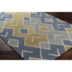 Wrought Studio Vazquez Hand-Tufted Wool/Viscose Green/Blue Area Rug Rug Size: Rectangle x Rectangular Rugs, Yellow Area Rugs, Home Decor Trends, Accent Furniture, Wool Area Rugs, Wool Rugs, Outdoor Rugs, Colorful Rugs, Rug Size