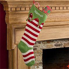 Personalized Knit Christmas Stockings - Seasonal Stripes - 9785  $49.95