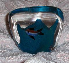 Aqua Teal Nautical Paperweight Fish In Ocean Diamond Shaped Art Glass Figurine #Nautical