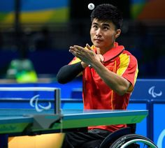 China's Ningning Cao plays against Germany's Valentin Baus in their Men's Singles - Class 5 Gold Medal table tennis match during the Paralympic Games in Rio de Janeiro, Brazil, on September 12, 2016.  Photo by Thomas Lovelock for OIS/IOC via AFP.  RESTRICTED TO EDITORIAL USE.    / AFP / IOS/OIC / Thomas Lovelock for OIS/IOC
