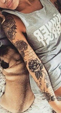 Gorgeous And Stunning Sleeve Floral Tattoo To Make You Stylish; Sleeve Tattoos For Women; Girly Sleeve Tattoo, Arm Sleeve Tattoos, Tattoo Sleeve Designs, Tattoo Designs For Women, Forearm Tattoos, Bad Tattoos, Girly Tattoos, Trendy Tattoos, Body Art Tattoos