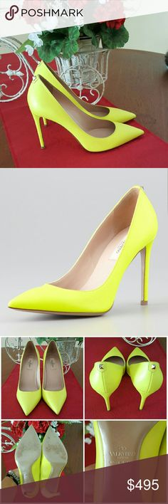 Authentic Valentino Leather Studback Pointtoe Pump 100% Authentic Valentino Yellow Leather Studback Pointtoe Pump. Only worn once for a party. Excellent Condition. Box and dust bag not included. Please ask before buying, I'll be more than happy to help you  Valentino Shoes Heels