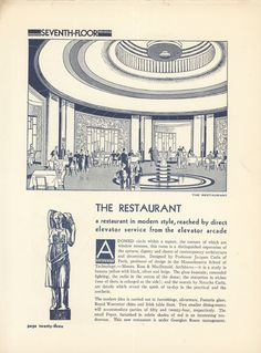 Round Room Restaurant - The Eatons News circa 1930 Eaton College, Ladies Lunch, Private Dining Room, Auditorium, Mid-century Modern, Toronto, Miniature, Mid Century, Printables