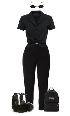 """""""#84"""" by the90svogue ❤️ liked on Polyvore featuring Alexander Wang, Hallhuber and Balenciaga"""