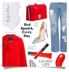 """Red Confidence"" by marina-volaric ❤ liked on Polyvore featuring beauty, Steve J & Yoni P, WithChic, Cédric Charlier, Christian Louboutin, Burberry, NARS Cosmetics and glossylips"