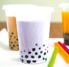 Boba Tea (Bubble Tea, homemade)--so fun to add tapioca pearls from the local Asian food store to my smoothies!
