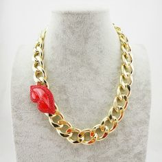 Simpleness Red Lips Exaggerated Style Gold Alloy Necklace