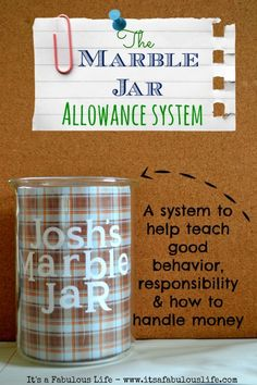 The Marble Jar Allowance System: Behavior and Responsibility Reward Jar - It's A Fabulous Life