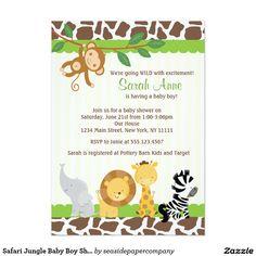 "Safari Jungle Baby Boy Shower Invitation 5"" X 7"" Invitation Card"