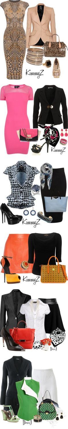 """Working 9-5"" by zuckie1 on Polyvore...I only like the first 3 outfits"