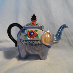 Elephant-Tea Pot-Lucky Elephant Tea Pot-Figurine Decorated Elephant by BCScollectibles on Etsy