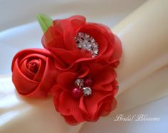 Red Chiffon Satin Flower Wrist Corsage | Vintage Inspired Wedding Corsage | Mother of the Bride | Bridal Shower | Easter