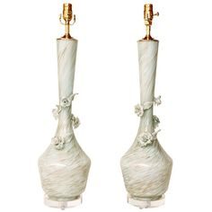 Pair of Beautiful Tall Acqua and Gold Murano Glass Table Lamps