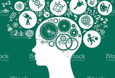 Child's head with gears surrounded by icons of education royalty-free stock vector art