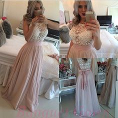 Chiffon Pearls Pink Long Prom Dresses 2016 Crew Neck Lace Long Evening Gowns