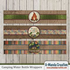 Camping Party Printables from #AmandaCreation.  Throw an awesome camping themed birthday party with these printable water bottle wrappers