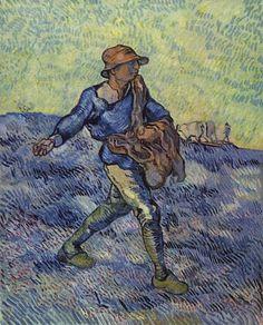 """""""The Sower,"""" 1889 by Vincent van Gogh (after Millet: http://en.wikipedia.org/wiki/File:Jean-Fran%C3%A7ois_Millet_%28II%29_013.jpg )"""