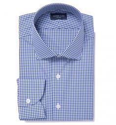 Melrose 120s Royal Blue Mini Gingham Men's Dress Shirt by Proper Cloth
