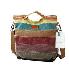 SNUG STAR Multi-Color Striped Lattice Canvas Handbag Cross Body Should Purse Bag Tote-Handbag for Women $21.99