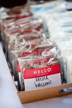 Great labeling idea!  Hello, my name is Chocolate-Topped Cherry-Ettes  I CONTAIN ALMONDS!