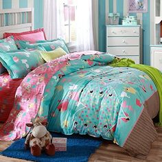 Norson Cute Cartoon Design Boys and Girls Bedding Set Cats Pattern Duvet Cover Students 100 Cotton Bedding Fillet Bed Sheets Queen Size 4pcs 5pcs with comforter ** See this great product.