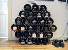 PVC Pipe Shoe Rack Wall-Mounted Shelves And Racks Shoe Pyramid Stairs Wooden Cabinet Storage Solution Hanging Closet Shoe Storage Shoe Storage Ottoman Boot Storage, Diy Shoe Storage, Diy Shoe Rack, Storage Ideas, Shoe Racks, Shelf Ideas, Organization Ideas, Smart Storage, Creative Storage