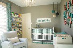 Love these fabric orbs in the corner of the room - such a fun accent! #nursery #decor