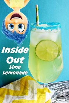 Inside Out Joy's Lime Lemonade Drink - Sippy Cup Mom Party Drinks Alcohol, Kid Drinks, Alcohol Drink Recipes, Fancy Drinks, Summer Drinks, Cocktail Drinks, Alcoholic Drinks, Punch Recipes, Disney Inspired Food