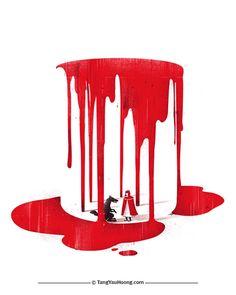 negative space in art Red
