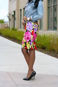 Floral and denim    (target floral jeans, white shirt, jean jacket, blue heels)