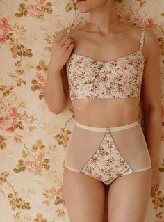 Handmade Cream Floral Soft Bra And High Waist by UpsideDownKisses