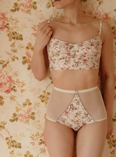 Handmade Vintage Garden Ivory Floral Soft Bra And High Waist Pantie Lingerie Set. Hand pattern cut and sewn in London to obtain an original and