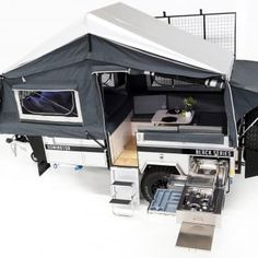 """With its great looks, advanced design and quality build the """"Dominator"""" is set to be the industry benchmark in forward fold campers. Off Road Camper Trailer, Camper Trailers, Pop Up Trailer, Popup Camper, Mini Camper, Camper Van, Built In Pantry, Forward Fold, Rv Camping"""