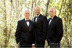 Black, white and red wedding colors.  The groom, his father and the father of the bride all in classic tuxes with polka dot bow ties.  Retro 1950s inspired wedding.
