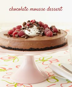 Chocolate Mousse Dessert with an Oreo crust and fresh berries on top #recipe #dessert #yum