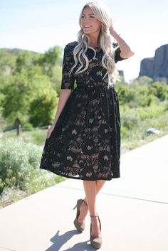 The Samantha Lace Dress is perfect for any special occasion or event, date night or going to church. It would also make a great bridesmaid dress!   Samantha Modest Lace Dress in Black over Nude Lining