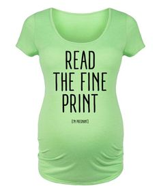 Lime 'Read the Fine Print' Scoop Neck Maternity Tee