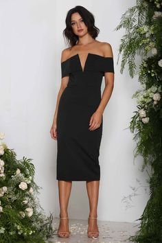 a2ee0f70134 Elle Zeitoune Valerie Black find it and other fashion trends. Online  shopping for Elle Zeitoune clothing. Thick stretch off the shoulder v dress  our model.