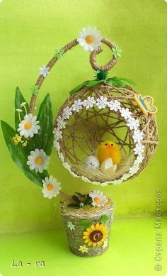 Craft Product March Easter Simulation Design Soon Easter 2 Twine Photo Source by Jute Crafts, Diy Home Crafts, Crafts For Kids, Easter Crafts, Christmas Crafts, Christmas Ornaments, Easter Decor, Art N Craft, Diy Art