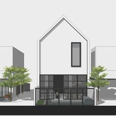 Credit to from . Modern Minimalist House, Small Modern Home, Minimalist Architecture, Modern Architecture House, Architecture Design, Cluster House, Facade House, Arch House, Modern Townhouse