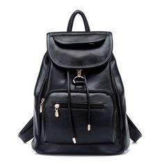 Batoh Stylish Black Leather Backpack for Teenagers Girls Youth Drawstring Knapsack Schoolbag Backpacking Backpack women 2016