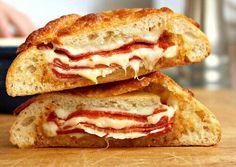 Pepperoni & Cheese Stuffed Ciabatta Bread - Food Porn