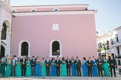 Bridal Party | Blue and turquoise bridesmaids dresses | Greek Island Wedding