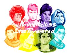 Nevertheless She Persisted This colorful piece was inspired by just a few of the persistent ladies from recent history. These ladies are:  Shirley Chisholm in red, Nellie Bly in pink,  Ida B. Wells in purple,  Hillary Rodham Clinton in blue,  Ruth Bader Ginsburg in teal,  Harriet Tubman in green,  Susan B. Anthony in yellow,  and Malala Yousafzai in orange.  These prints come in two sizes 8x10 and 11x14. Each print is signed and numbered by the artist. This print will come to you in a clear…