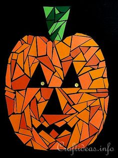 Jack o& Wall Art. Print out the pumpkin pattern and let kids create a paper mosaic Jack o'Lantern to decorate the wall or door at Halloween. Fall Paper Crafts, Halloween Paper Crafts, Easy Halloween, Art Crafts, Diy Paper, Halloween Art Projects, Fall Art Projects, Mosaics For Kids, Jack O'lantern