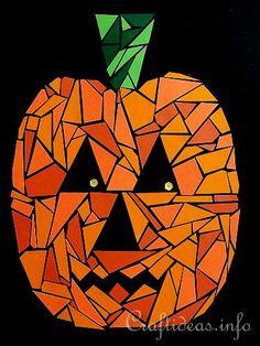 Halloween Art - Paper Mosaic Jack o' Lantern