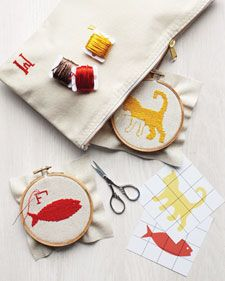 Cross-stitch is one of the easiest stitches to master, and we've created fun clip-art motifs that you can take anywhere. Gather your supplies -- you don't need many -- slip them into a pouch for convenient toting, and take your crafts show on the road.