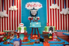 Love this Thomas the Train birthday party! See more party planning ideas at CatchMyParty.com!